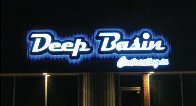 Deep Basin - lit sign