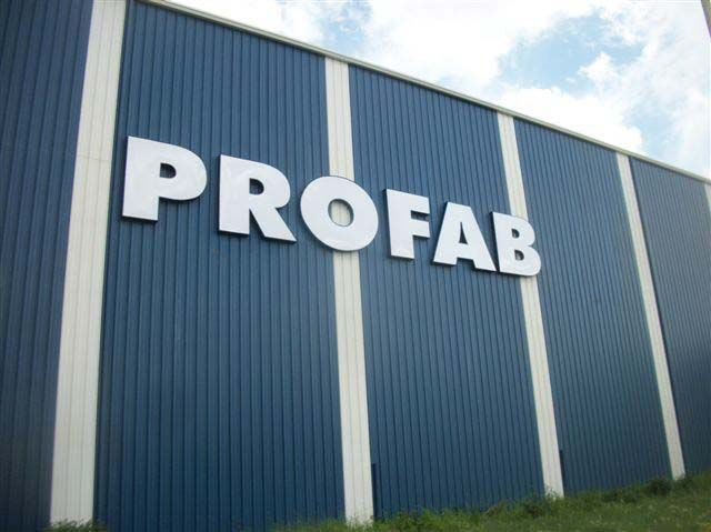 PROFAB Exterior sign on a building