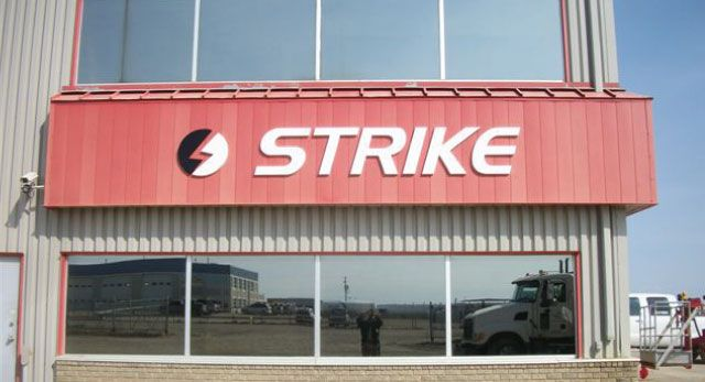 Strike - outdoor building sign